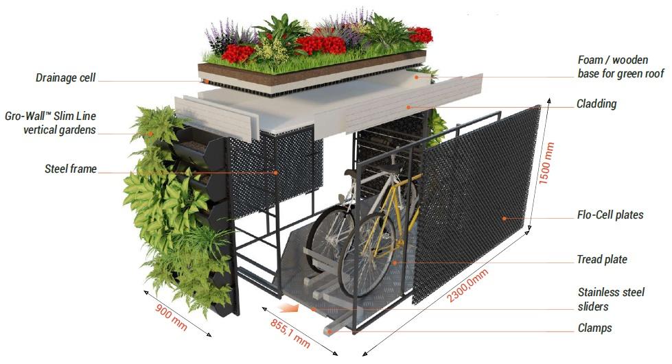 Gardarica Bicycle Storage EcoShelter Diagram